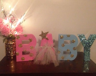 Hand Painted Gender Reveal Letters
