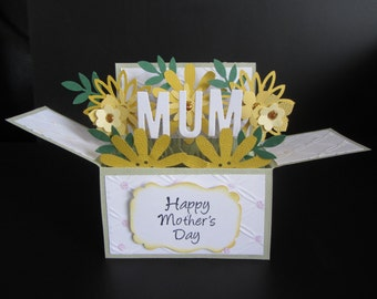Handmade card in a box -chrysanthemums ( Mother's Day)