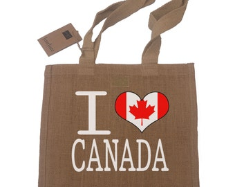 I Love Canada Gift Jute Compact Shopping Bag