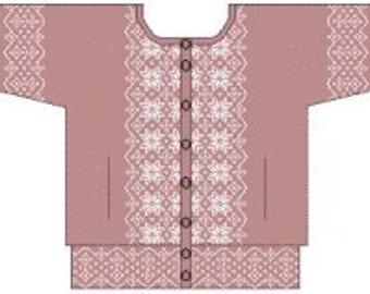 Snowflake Sideways Jacket, Machine Knitting Pattern. Download version