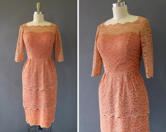 60s Make Me Blush Dress- 1960s Vintage Dress - Illusion Rusty Rose Dress w Tiered Lace and 3/4 Sleeves - Scalloped Edges Dress by Sylvia Ann