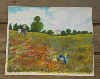"Painting and pencil ""Field of poppies"" by Robert Fertier vintage"