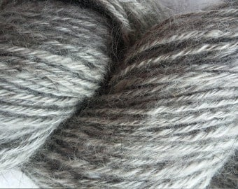 Zwillingsterne:  100% Angora yarn,  natural shades of grey, home-raised and handspun