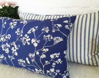 Cherry Tree Blossom Cushions, blue and ivory