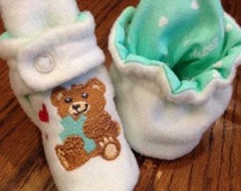 Jesus Loves Me  fleece baby booties