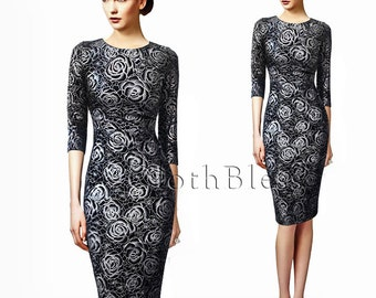 Bodycon Dress with Floral Print 3D - Pinup Dress 3D Flowers Print
