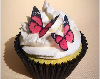 Pink Butterfly Toppers, Edible Butterflies, Edible Wafer Paper, Butterfly Cupcake Topper