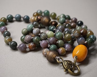 Hand knotted jasper gemstones necklace