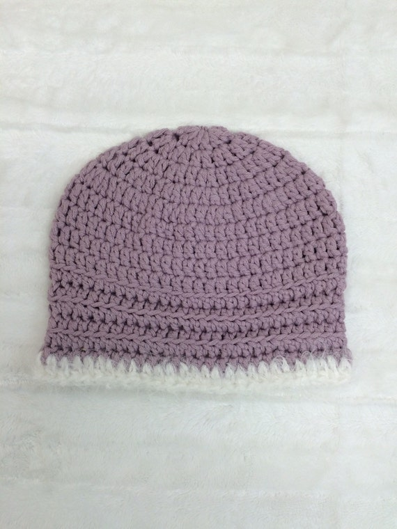 Baby Beanie, hat, handmade, crochet, lavender, soft and stretchy, warm, Girl