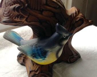 Vintage Blue Jay in  a Tree Vase