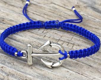 Medium Anchor Bracelet , Adjustable Cord Macrame Friendship Bracelet