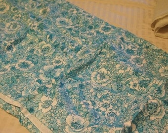 Vintage blue and white floral  patterned fabric