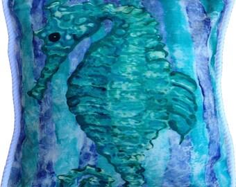 FREE shipping   Aqua Seahorse Pillow