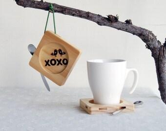 XOXO,Kiss,Love.Heart,Bird,Happy Wedding,Marry,Cake,Star, Wood ,Coasters
