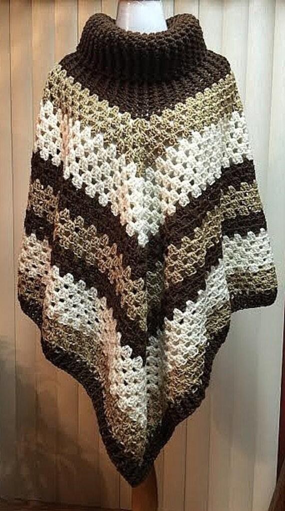 simple square diagram crochet poncho cowl neck poncho brown poncho boho poncho  crochet poncho cowl neck poncho brown poncho boho poncho