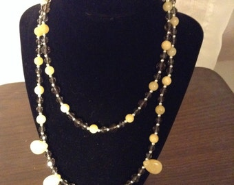 Yellow Jade Necklace and Earrings