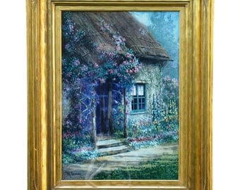 "Mary Vernon ""The Cottage Door"" Gouache on Board ca, 1890"