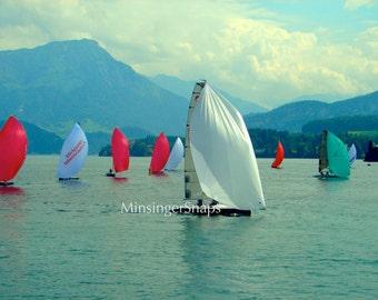 Sailboats, Lake Lucerne, Switzerland Photo Print