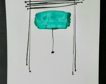 Abstract painting on paper black and turquoise. Minimalist