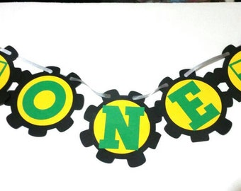 John Deere Themed 1st birthday banner , Tractor themed high chair banner , John Deer one sign