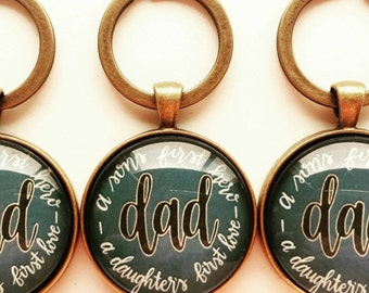 Dad Keyring - Vintage Gold - A sons first hero - a daughters first love - made to order - Father's Day