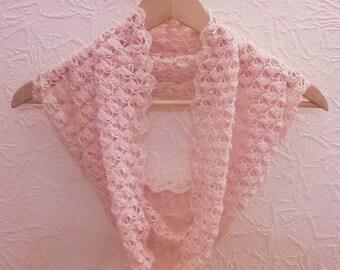 Sale! Pale Pink Linen Scarf - Crochet Infinity Scarf - Light Pink Linen Infinity Scarf - Spring Scarf - Summer Scarf - Elegant Linen Scarf