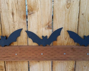 Halloween Black Bats - Halloween Decoration - Wooden Bat Silhouette - Halloween Party Decor - Set of 3 Black Bats - Halloween Wall Decal