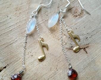 Moonstone and garnet long earrings