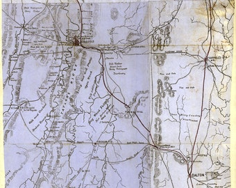 1864 Map of Part of Catoosa Whitfield and Walker County Georgia Reproduction