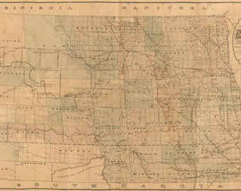1892 Map of North Dakota