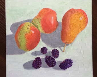 Forelle Pears & Blackberries, Oil Painting, fruit