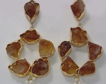 Raw Citrine Earrings - Gold Vermeil Earrings - Bezel Set Earrings - Rough Stone Earrings - Beautiful Earrings - Designer Dangle Earrings