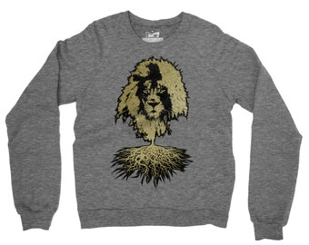 Lion Sweater - Crew neck Sweatshirt, Street Art, Organic Cotton, Marl Grey Fair Trade Unisex Jumper