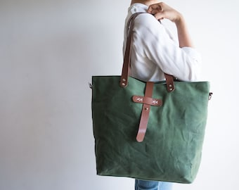 Waxed canvas bag, Waxed canvas tote, Waxed canvas handbag, Large tote bag, Canvas Diaper bag, Shoulder bag, Canvas tote bag, Army green