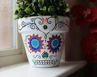Sugar Skull Terra Cotta Flower Pot