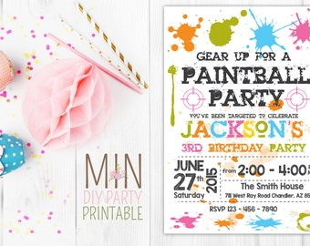 Paintball Invitation, Paintball Invite, Paintball Birthday Party, Paintball Printables, Paintball Party