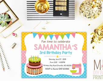 Cake decorating party invitation Etsy