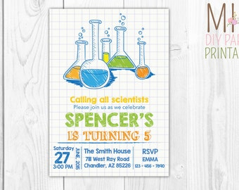 Science Invite 3,Mad Scientist Party, Mad Scientist Birthday, Science Birthday Invitation,Science birthday,science invitation,Science party