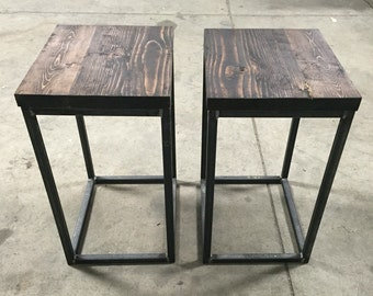Two industrial end tables