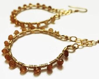 Garnet Gold Hoop Earrings - Garnet Hoop Earrings - Hessonite Garnet Hoop Earrings [SOSE1270]