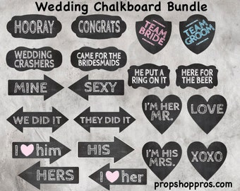 BEST SELLER | Wedding Photo Booth Props | Wedding Props | Wedding Signs | Photo Booth Props | Prop Signs | Chalkboard Wedding