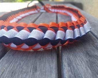 Orange White & Black Sparkle Lei