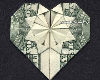 MONEY ORIGAMI HEART - Folding Instructions Included - Dollar Bill - Diagram Cash Instruction Diagram