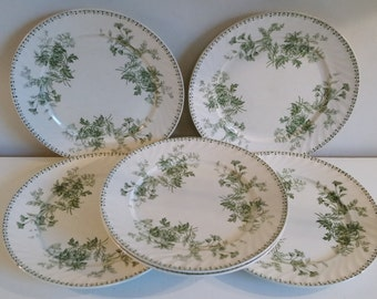 Vintage XIXth century lot of 6 Sarreguemines dinner plates Elvire pattern