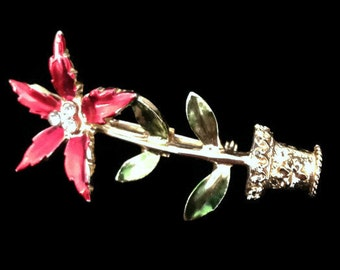 poinsettia, brooch, vintage brooch, flower brooch, red flowers, floral brooch, christmas brooch, festive brooch