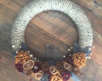 Felt flower wreath, yarn wreath, Christmas wreath, flower wreath, door decor, door hanging, door wreath, handmade wreath, floral wreath