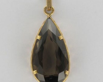 Gold smoky quartz pendant