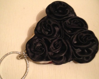 Black Satin  Rose Coctail Purse