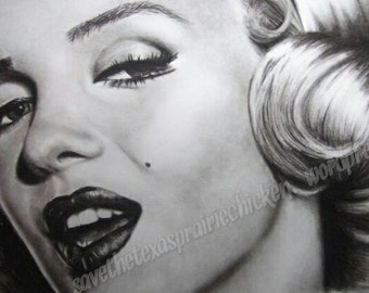 Marilyn Monroe Charcoal Drawing - PRINT