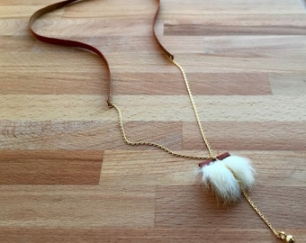 Fur camel leather and gold pendant necklace
